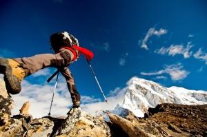Hiker in Himalaya mountains