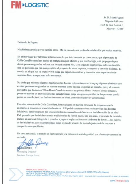Carta de respuesta de FM Logistic